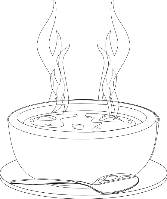 555x661 A Bowl Of Soup That Warms Coloring Pages
