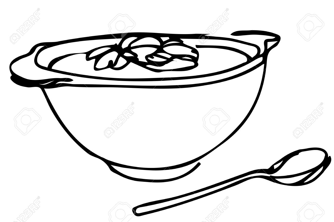 1300x866 Vector Sketch Of A Bowl Of Soup With Herbs And Spoon Lying Next