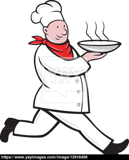 413x512 Chef Cook Running Serving Hot Soup Bowl Image