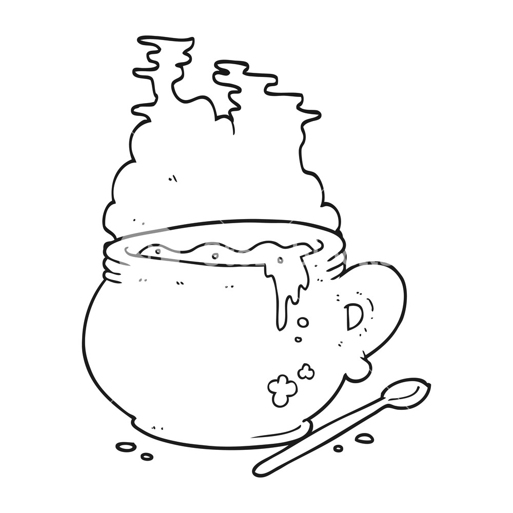 1000x1000 Freehand Drawn Black And White Cartoon Bowl Of Soup Royalty Free