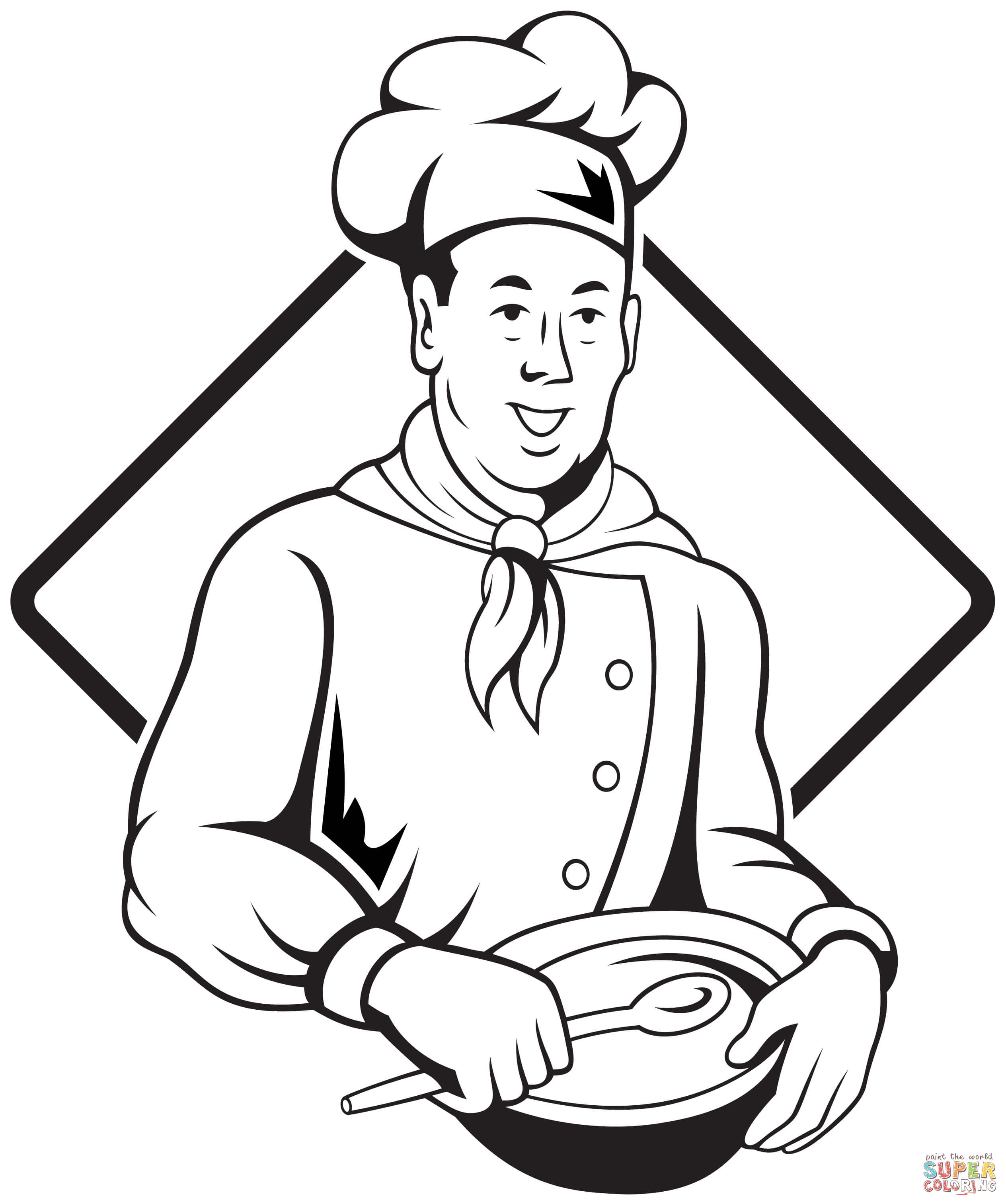 2528x3024 Chef Holding Spoon And Bowl Coloring Page Free Printable