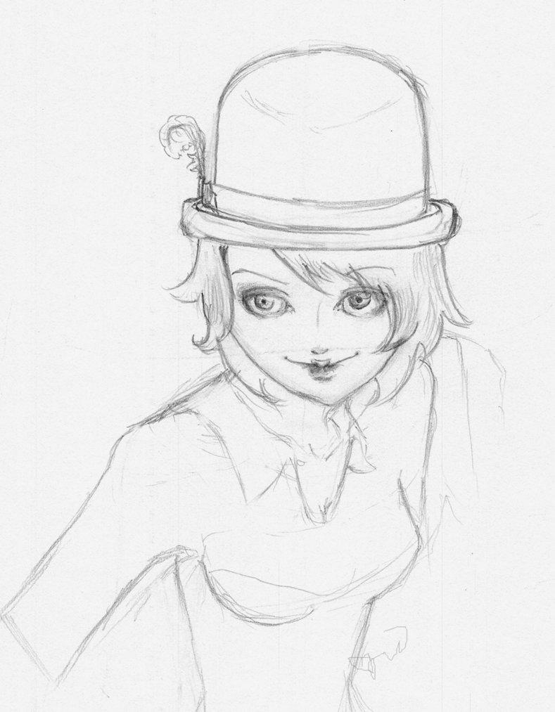 789x1013 Bowler Hat Girl Wip By Alamulymala