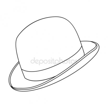 450x450 Bowler Hat Icon In Outline Style Isolated On White Background