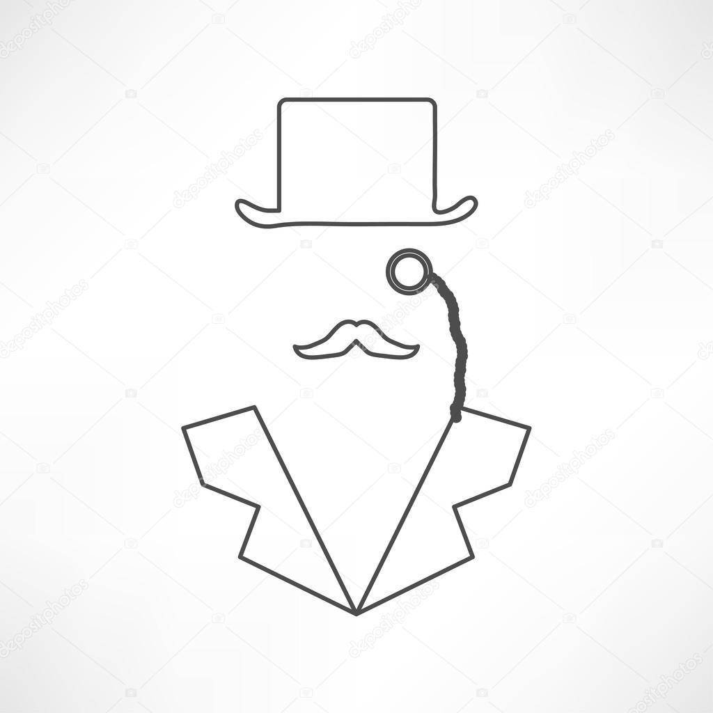1024x1024 Gentleman In Bowler Hat Icon Stock Vector Slasny1988