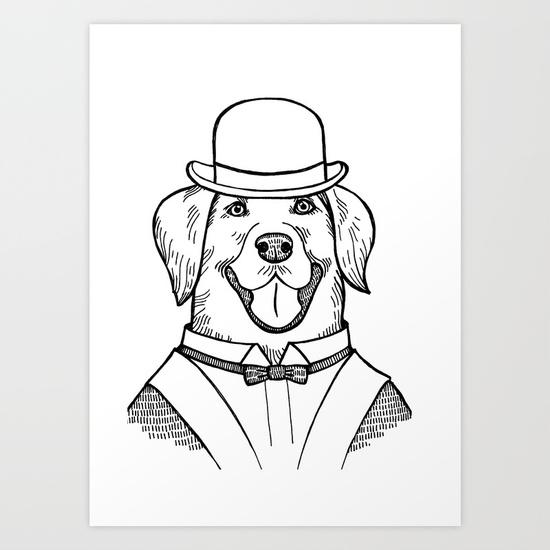 550x550 Portrait Of A Labrador Retriever With A Bowler Hat Art Print By