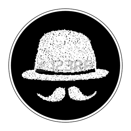 450x450 Simple Hand Drawn Doodle Of A Bowler Hat And Moustache Royalty