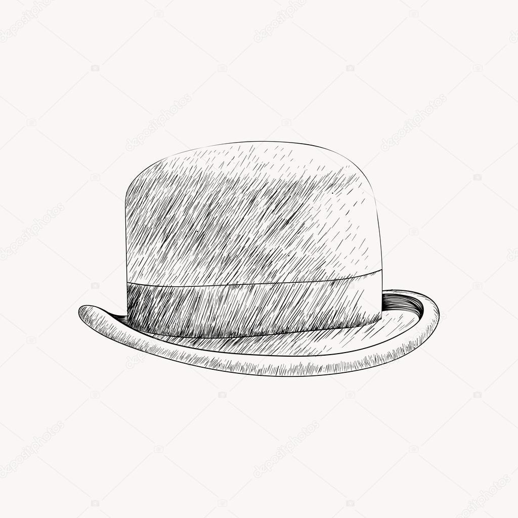 1024x1024 Sketch Black Bowler Hat Or Derby Cut Out. Hand Drawn Vector Illu