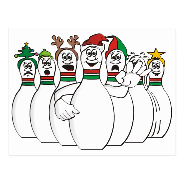 630x630 Christmas Bowling Pins Postcard