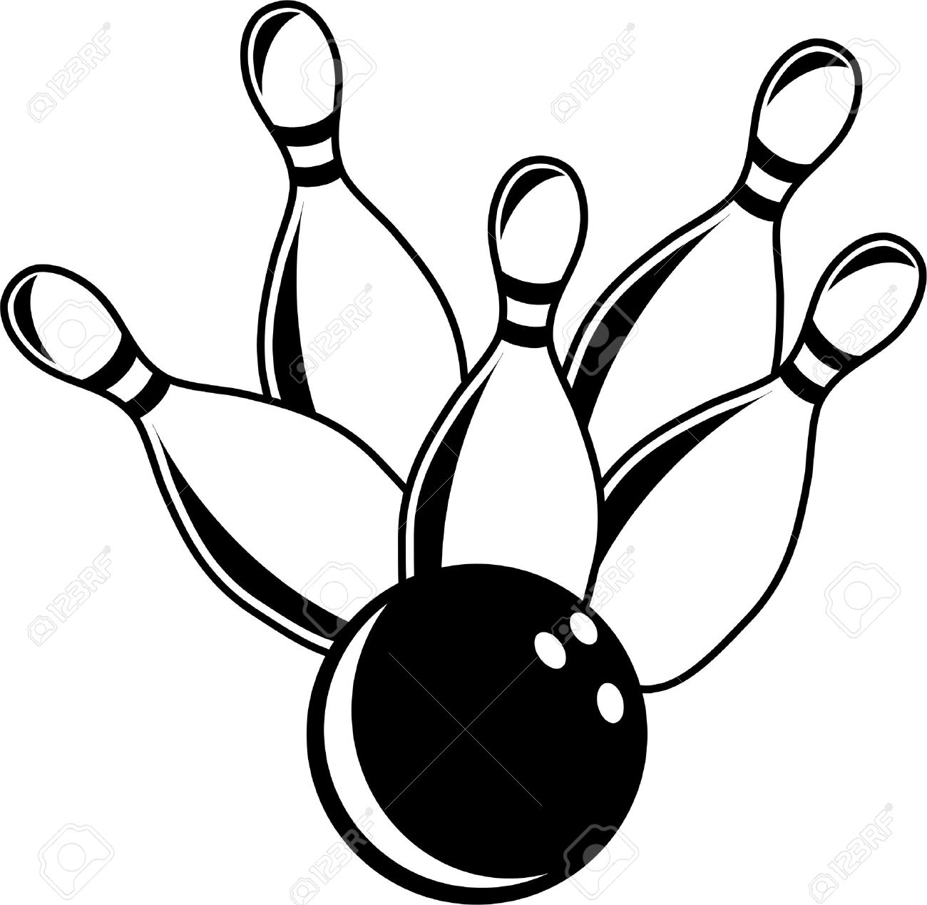 1300x1269 Simple But Bold Black And White Illustration Of Ten Pin Bowling