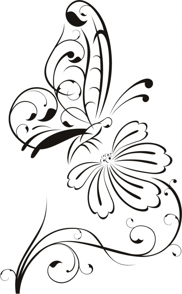 634x1024 Drawing Of Flowers And Butterflies Flowers And Butterflies