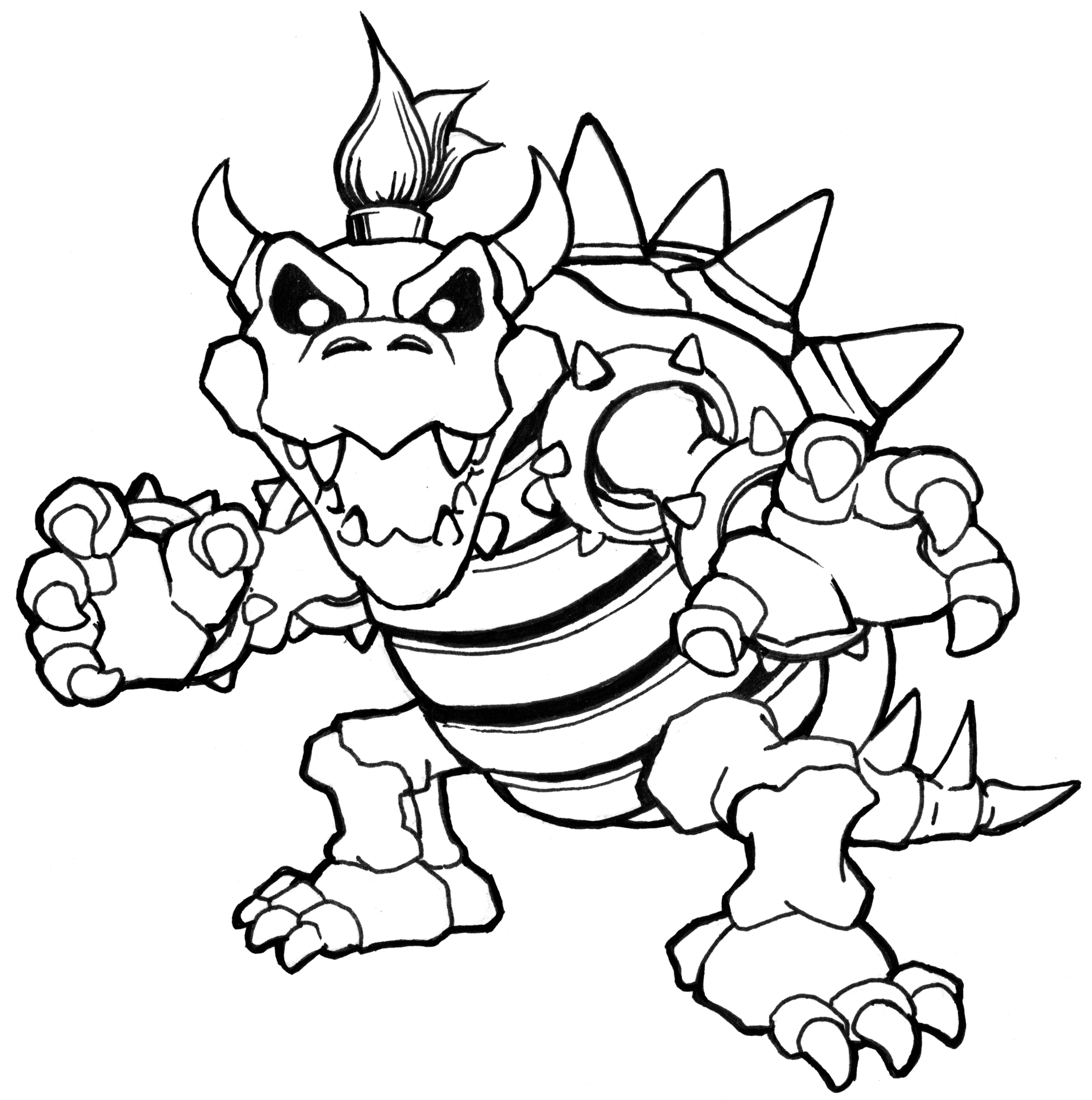 bowser and bowser jr coloring pages | Bowser Drawing at GetDrawings.com | Free for personal use ...