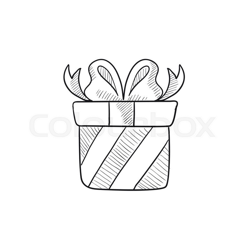 800x800 Gift Box Vector Sketch Icon Isolated On Background. Hand Drawn