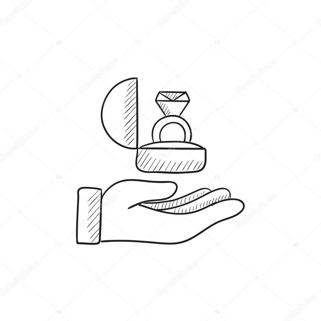 1024x1024 Hand Holding Gift Box With Ring Sketch Icon. Stock Vector