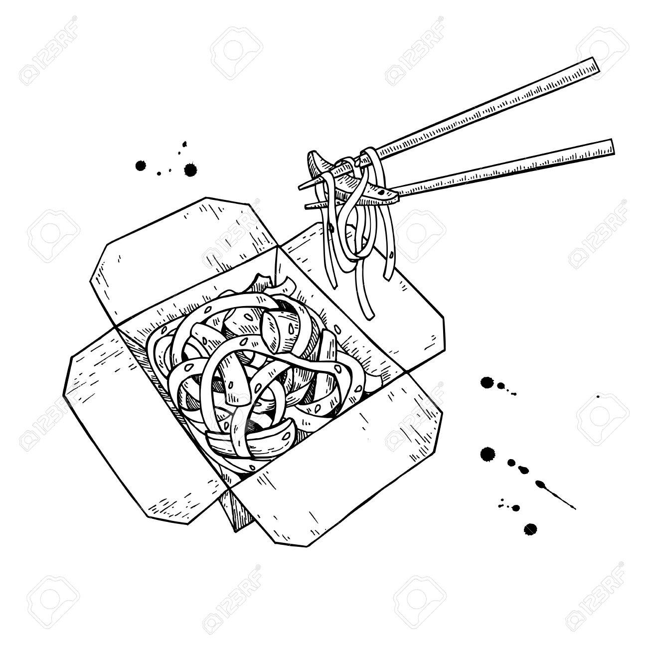 1300x1300 Wok Vector Drawing. Isolated Chinese Box And Chopsticks