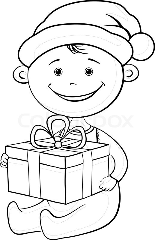 517x800 Baby Santa Claus With A Gift Box, Outline Stock Vector Colourbox