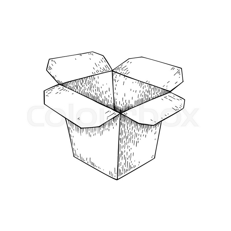 800x800 Chinese Food Box Vector Drawing. Isolated Packaging For Take Out