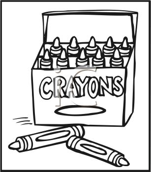 307x350 Picture Of A Box Of Crayons In A Vector Clip Art Illustration