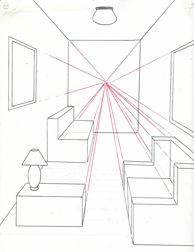 791x1024 How To Draw A Room Using One Point Perspective 11 Steps