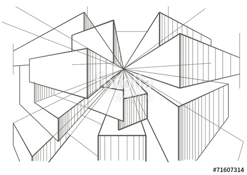 500x354 Abstract Architectural Sketch Of Boxes In Perspective Stock Image