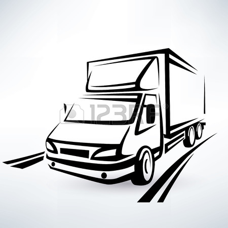 450x450 Europian Truck Outlined Vector Symbol Royalty Free Cliparts