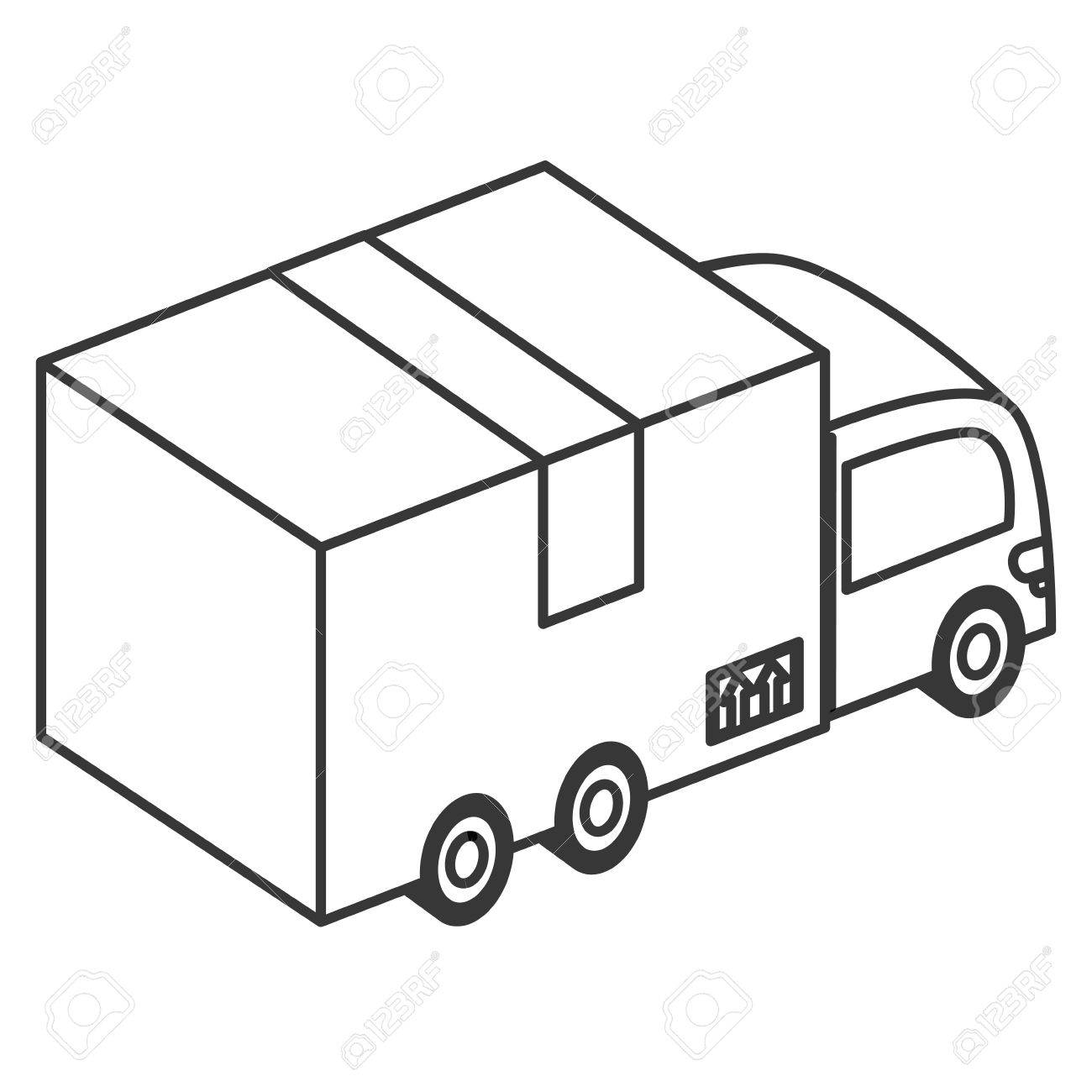 1300x1300 Flat Design Box Truck Icon Vector Illustration Royalty Free