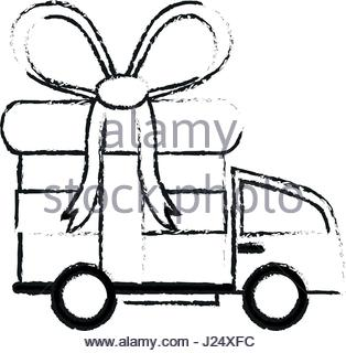314x320 Delivery Truck And Gift Box Icon Image Stock Vector Art