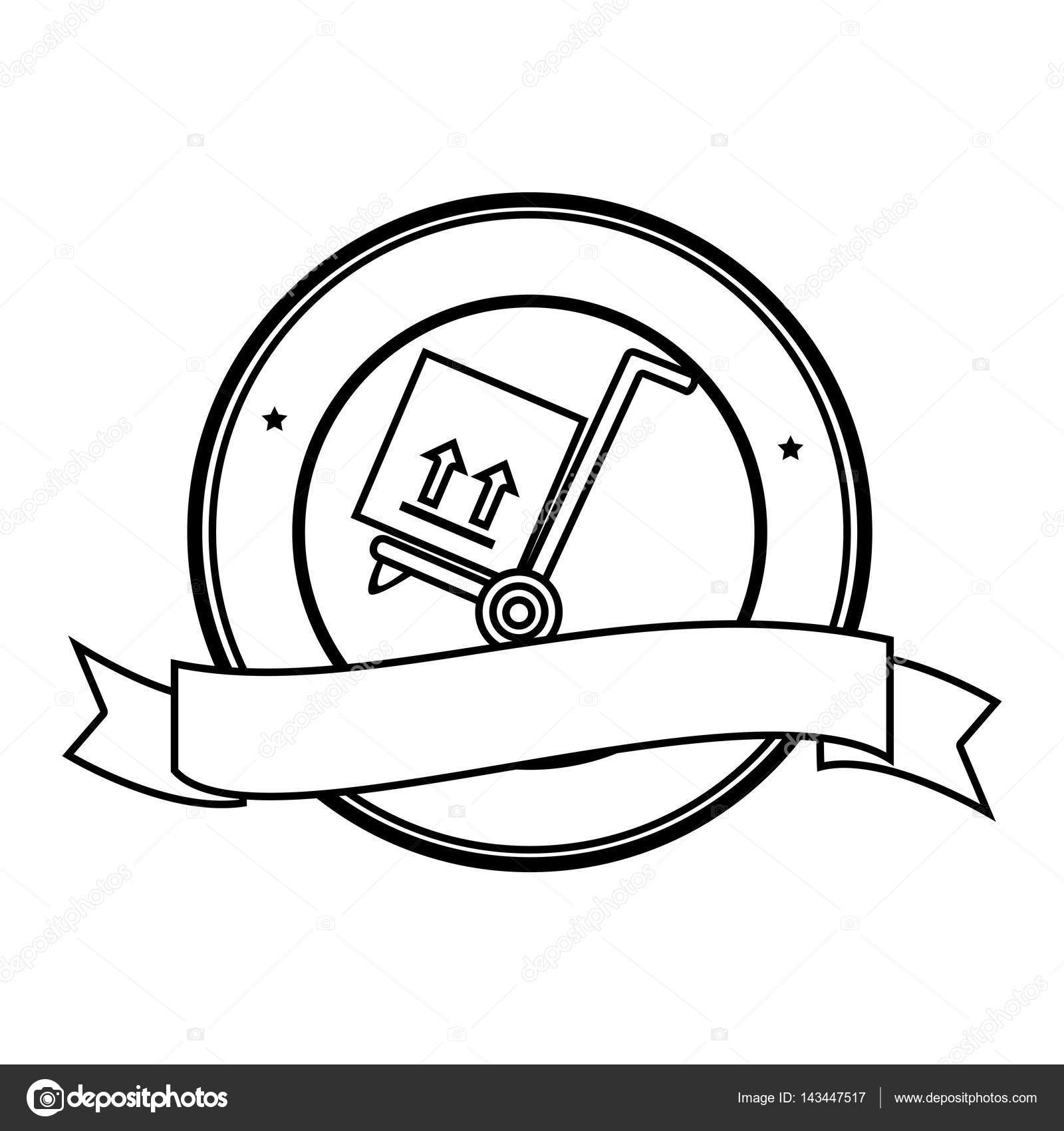 1600x1700 Monochrome Circular Contour Emblem Ribbon And Hand Truck