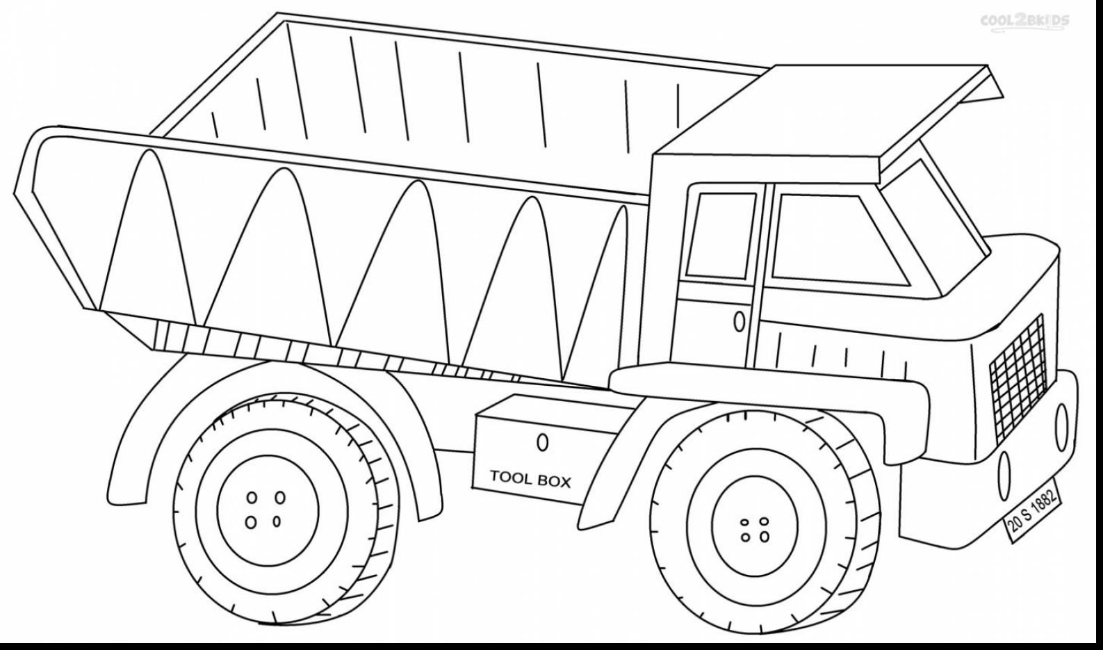 1587x935 Superb Dump Truck Coloring Pages Printable With Semi Truck