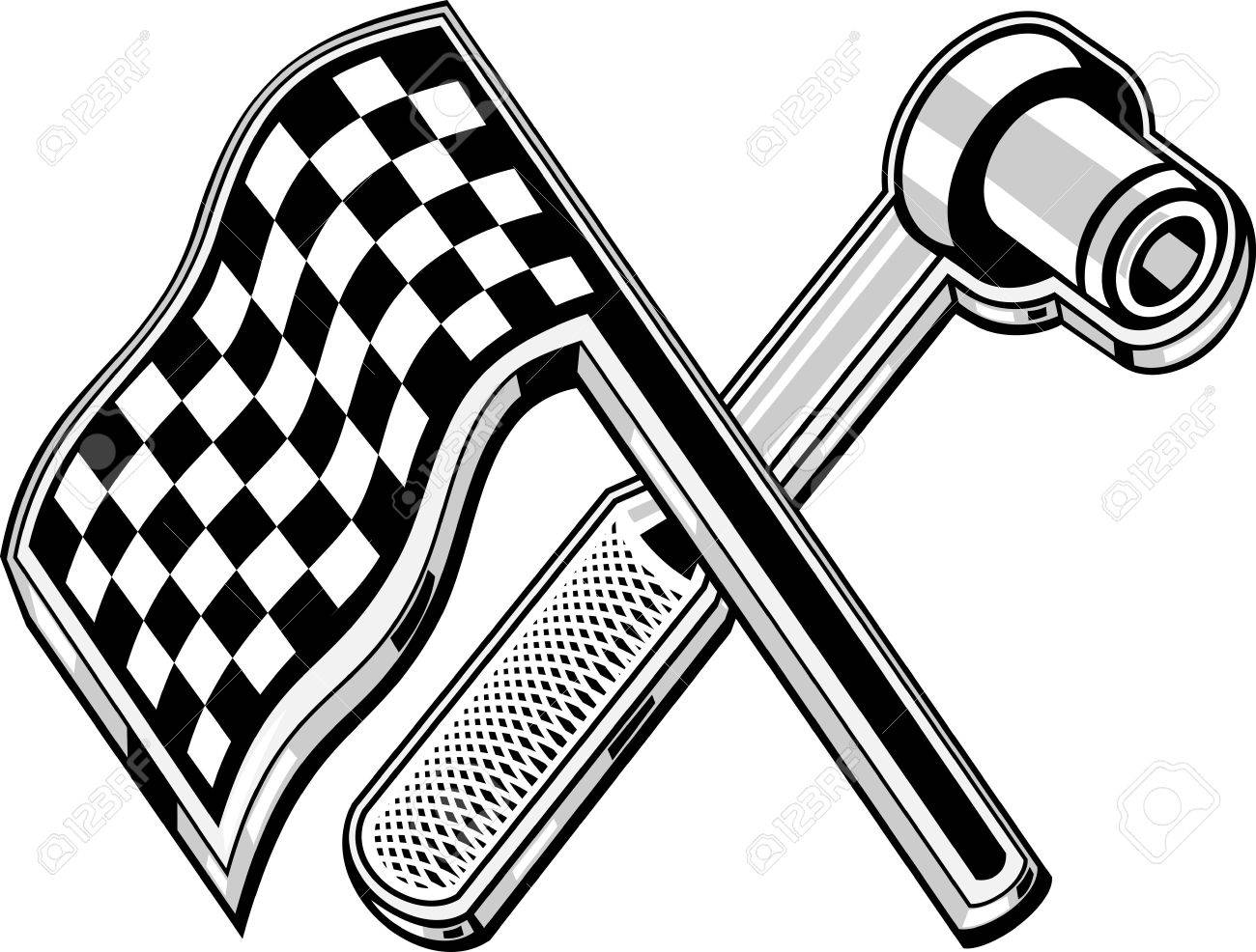 1300x986 Illustration Of A Checkered Flag With Socket Wrench Crossed Stock