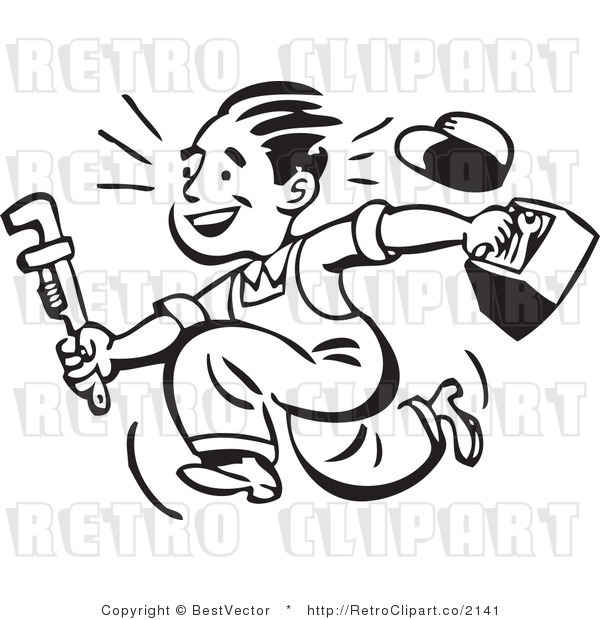 600x620 Retro Clipart Of Smiling Plumber Guy Running With Toolbox