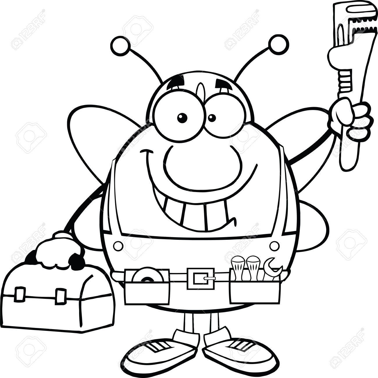 1300x1299 Black And White Pudgy Bee Plumber With Wrench And Tool Box Royalty