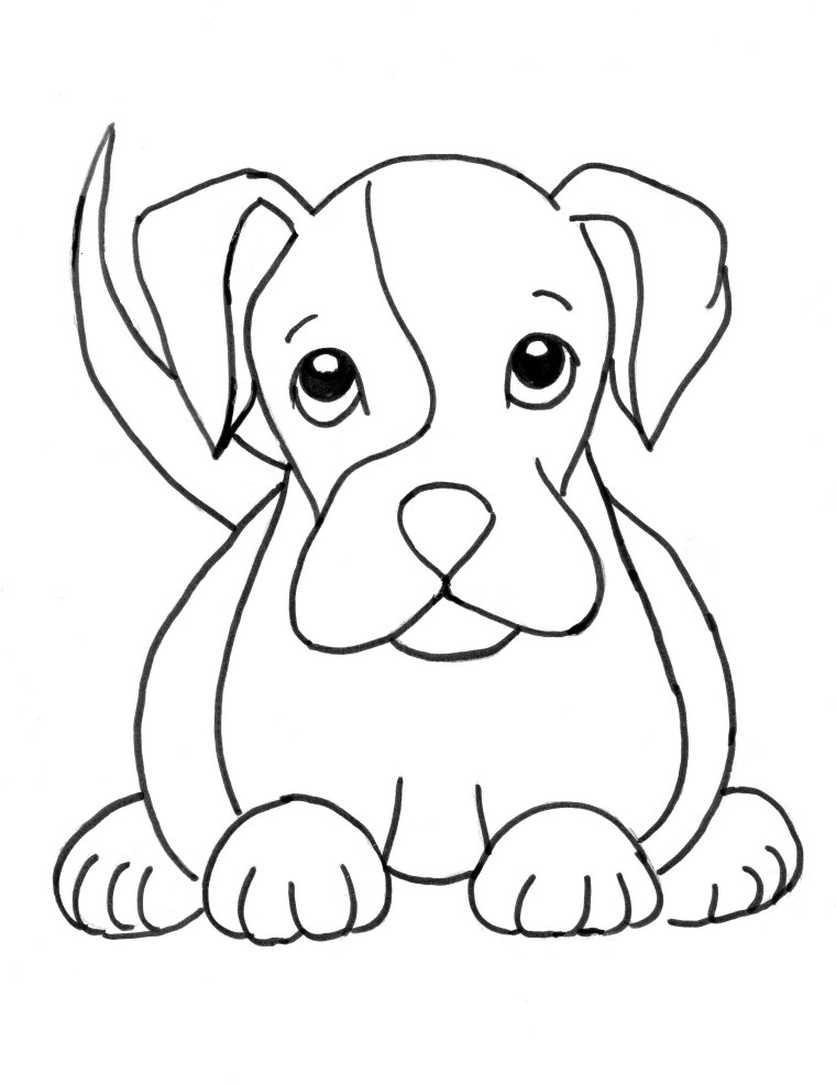 760x985 Boxer Puppy Coloring Page