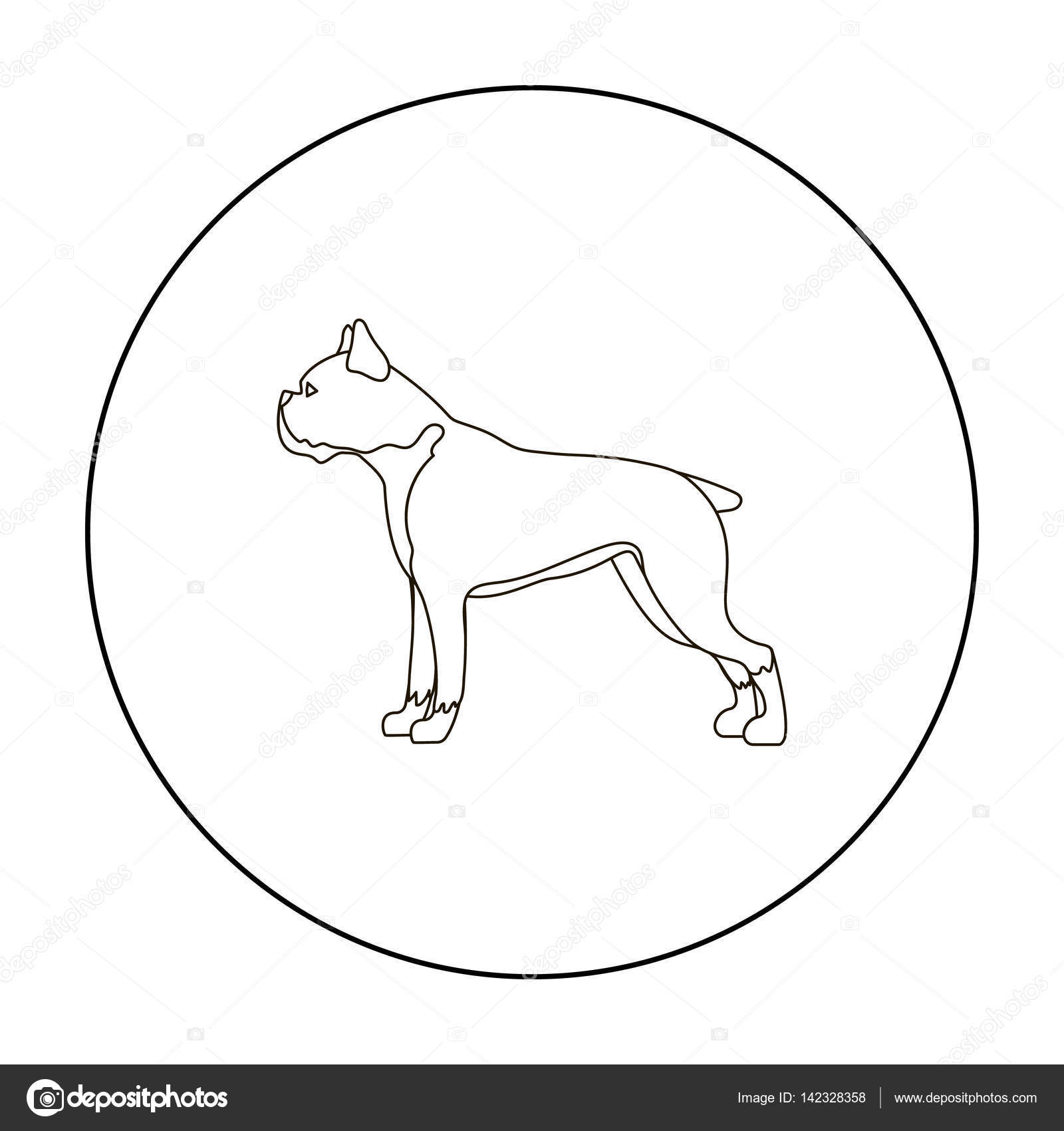 1600x1700 Boxer Dog Vector Icon In Outline Style For Web Stock Vector