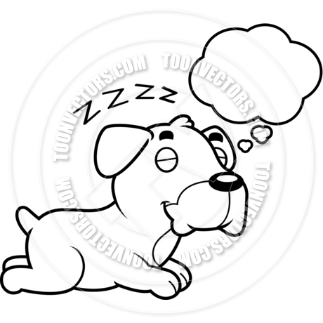 460x460 Cartoon Boxer Dog Dreaming (Black And White Line Art) By Cory