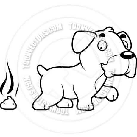 460x460 Cartoon Boxer Dog Poop (Black And White Line Art) By Cory Thoman