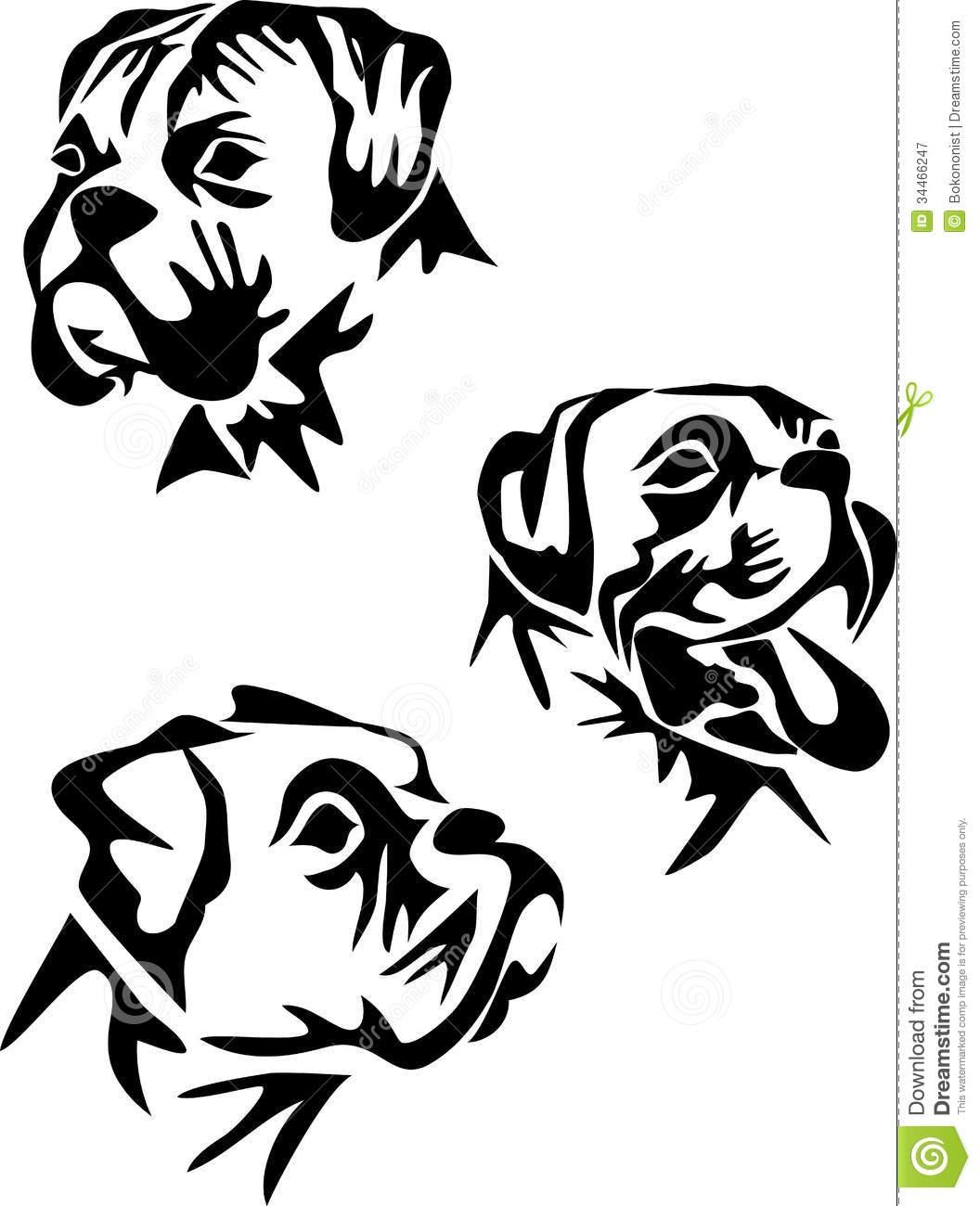 1056x1300 557788391 Boxer Stylized Dog Black White Illustration Head