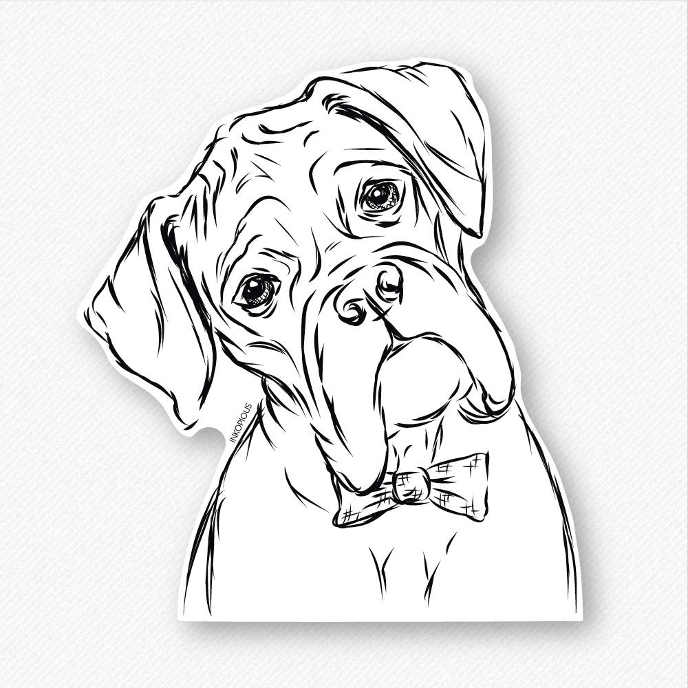 1000x1000 Cooper Boxer In A Bow Tie Decal Sticker Boxer Lover Gifts