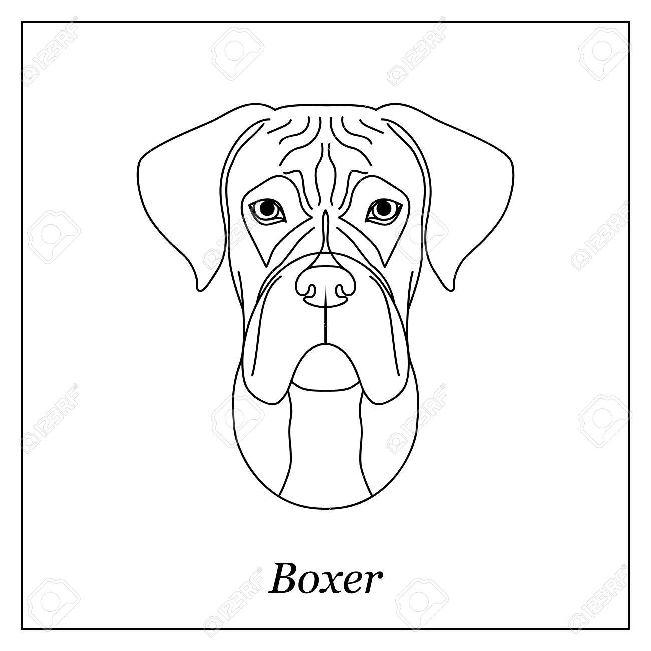 1300x1300 Isolated Black Outline Head Of German Boxer On White Background