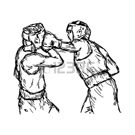 450x450 Fighting Boxers With Boxing Head Guard