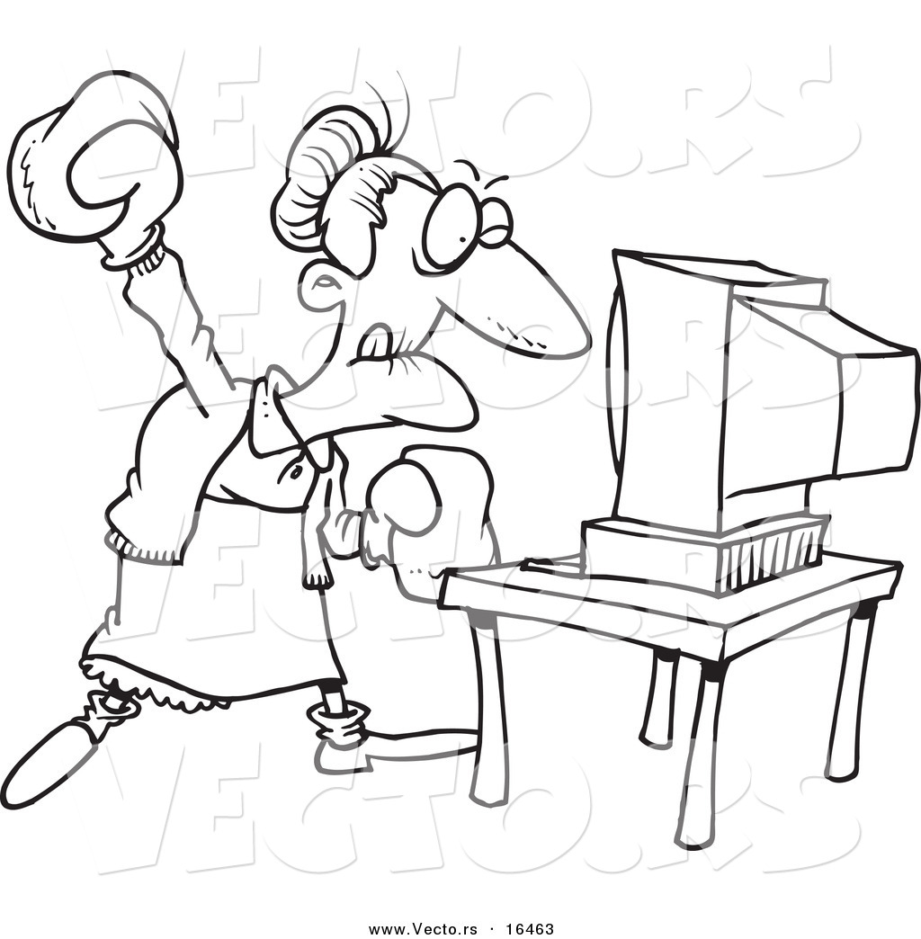 1024x1044 Vector of a Cartoon Mad Granny Beating a Computer with Boxing