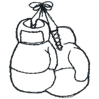 350x350 Boxing Gloves Outline Embroidery Designs, Machine Embroidery