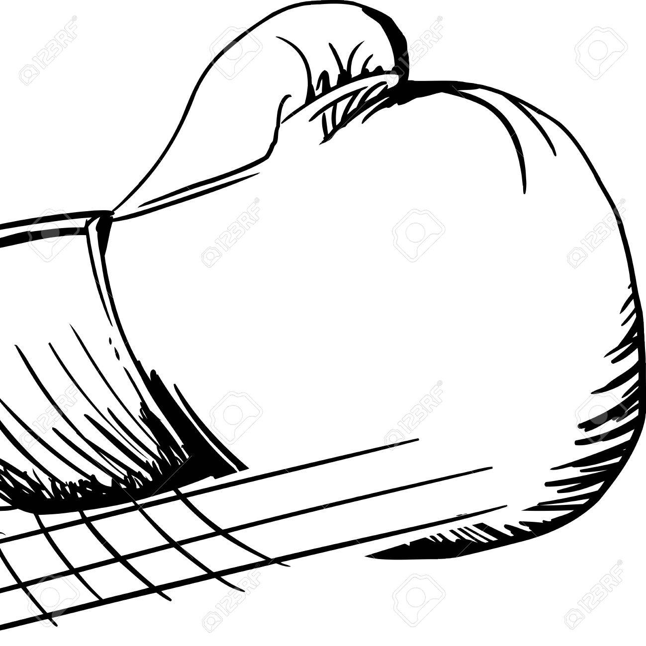 1299x1300 Outlined Cartoon Single Boxing Glove In Motion Royalty Free
