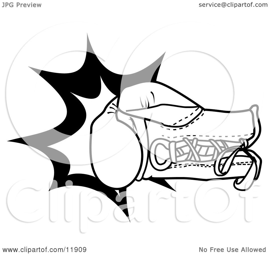 1080x1024 Boxing Glove Throwing a Punch Clipart Illustration by