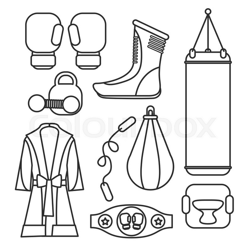 800x800 Boxing vector design elements. Fighting and boxing equipment
