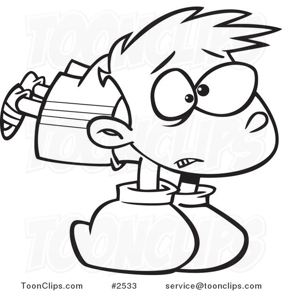 581x600 Cartoon Black and White Line Drawing of a Boy Wearing Heavy Boxing