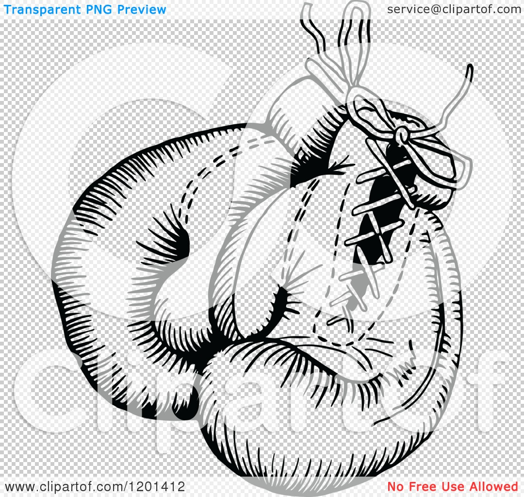1080x1024 Clipart of a Vintage Black and White Pair of Boxing Gloves