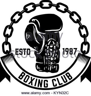 302x320 Vintage boxing gloves hand drawn in pen and ink Stock Photo