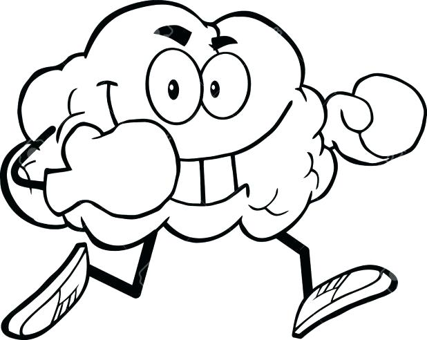 618x492 Boxing Gloves Coloring Pages Also Outlined Brain Cartoon Character
