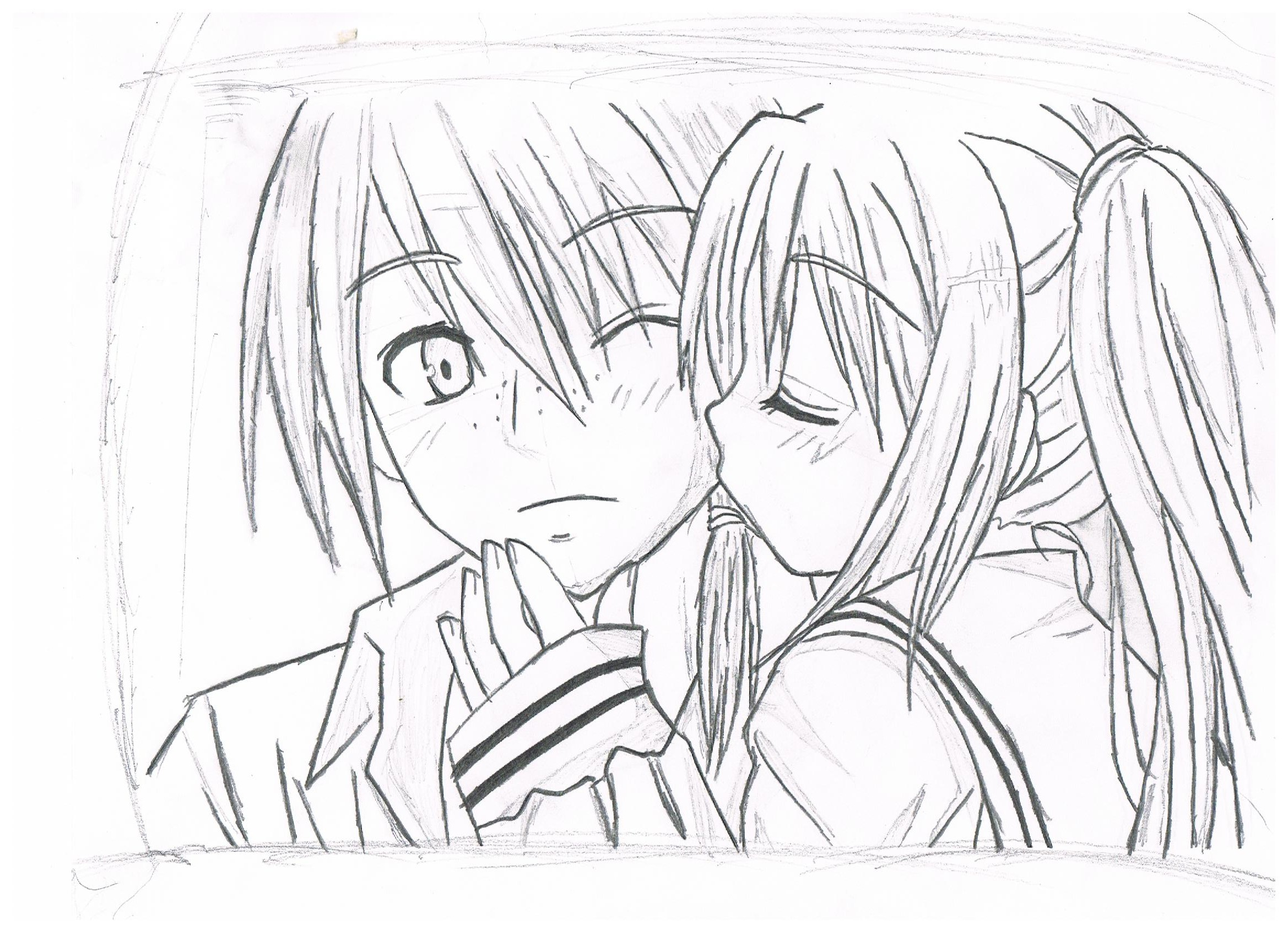 2338x1700 Boy And Girl Anime Drawing Download