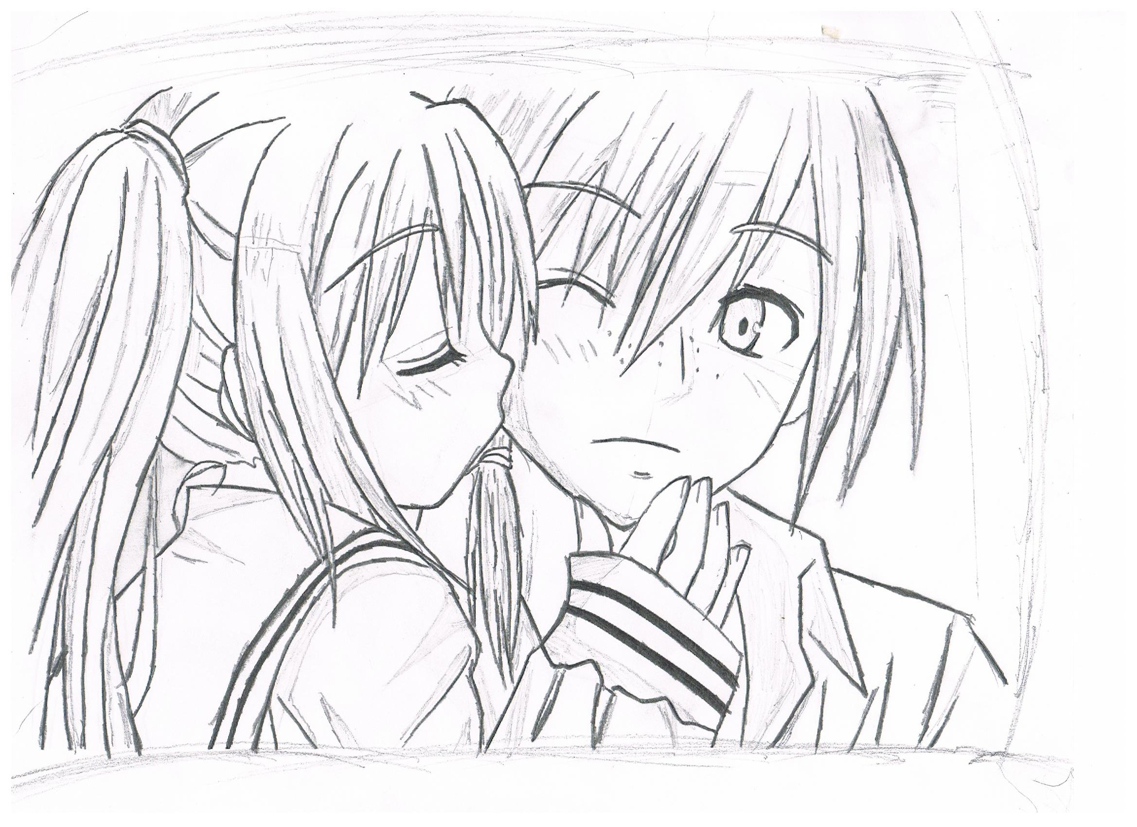 2338x1700 Anime Boy And Girl In Love Drawing